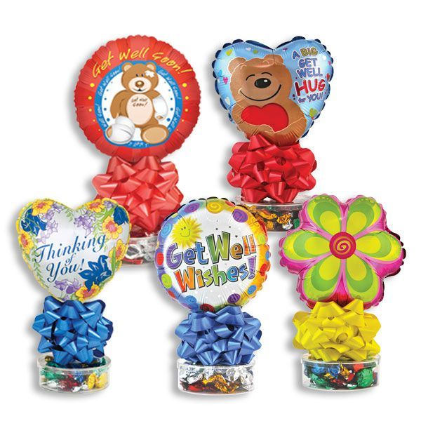 Get Well Balloon Stand with Assorted Hard Candy