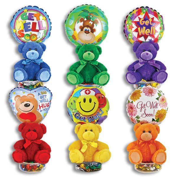 Get Well Balloon Stand with Plush Bear and Candy