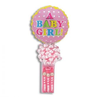 It's A Girl Balloon Stand With Bubble Gum Cigars